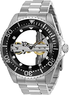 Invicta Men's 'Pro Diver' Mechanical Hand Wind Stainless Steel Casual Watch, Color:Silver-Toned (Model: 24692)