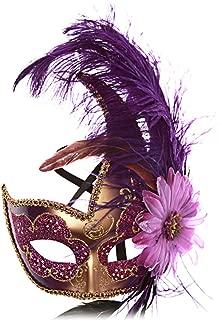 Women's Venetian Mask Halloween Masquerade Mask Princess Feathers Mardi Gras Mask
