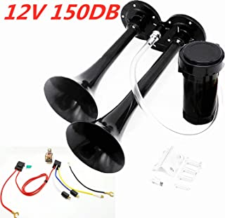 Viping Air Horn 12V 150db Car Horn Double Tube Horn Chrome Zinc Dual Trumpet auto Horn with Compressor for Any 12V Vehicles Lorries Boats Cars Vans Trains Trucks(Black)