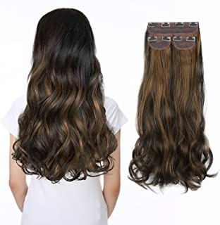 Hair Extensions Clip in on Hair (Invisible Wavy Clip Extensions) Thick Long Synthetic 3 PCS Set Hair Pieces for Women and ...