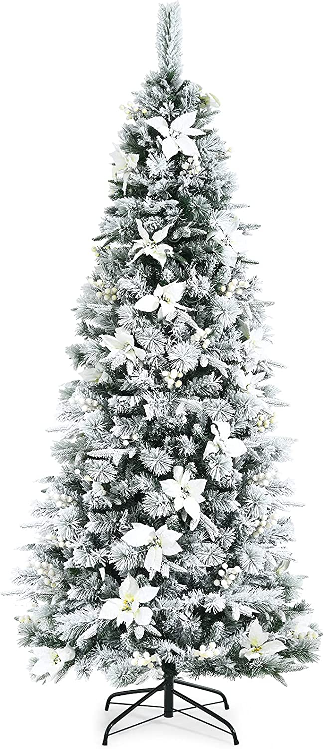 Goplus 55% OFF Snow Flocked Pencil Christmas excellence Tree Hinged Artificial 6FT