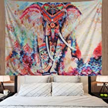 Amonercvita Elephant Tapestry Wall Hanging Mandala Tapestry Bohemian Tapestry Watercolor Wall Tapestry Flower Psychedelic Tapestry for Indian Dorm Decor (X-Large, Fzg002)