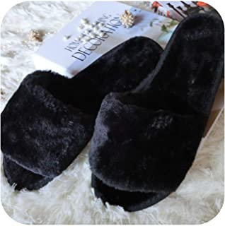 Winter Women House Slipper Plush Slippers Fur Slides Fluffy Faux Not Slip Flat Sandals Female Casual Shoes Zapatos Mujer