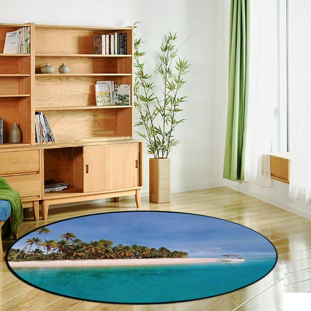Alfombra redonda de estampación, isla, isla pequeña en Trat Archipelago Tailandia Reef Rock Buceo Trip Sunny Day Landscape Mat antideslizante suave entrada Mat puerta suelo alfombra alfombra para silla sala de estar,