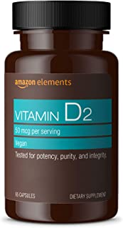 Amazon Elements Vitamin D2 2000 IU, Vegan, 65 Capsules, Supports Strong Bones and Immune Health, 2 month supply (Packaging...