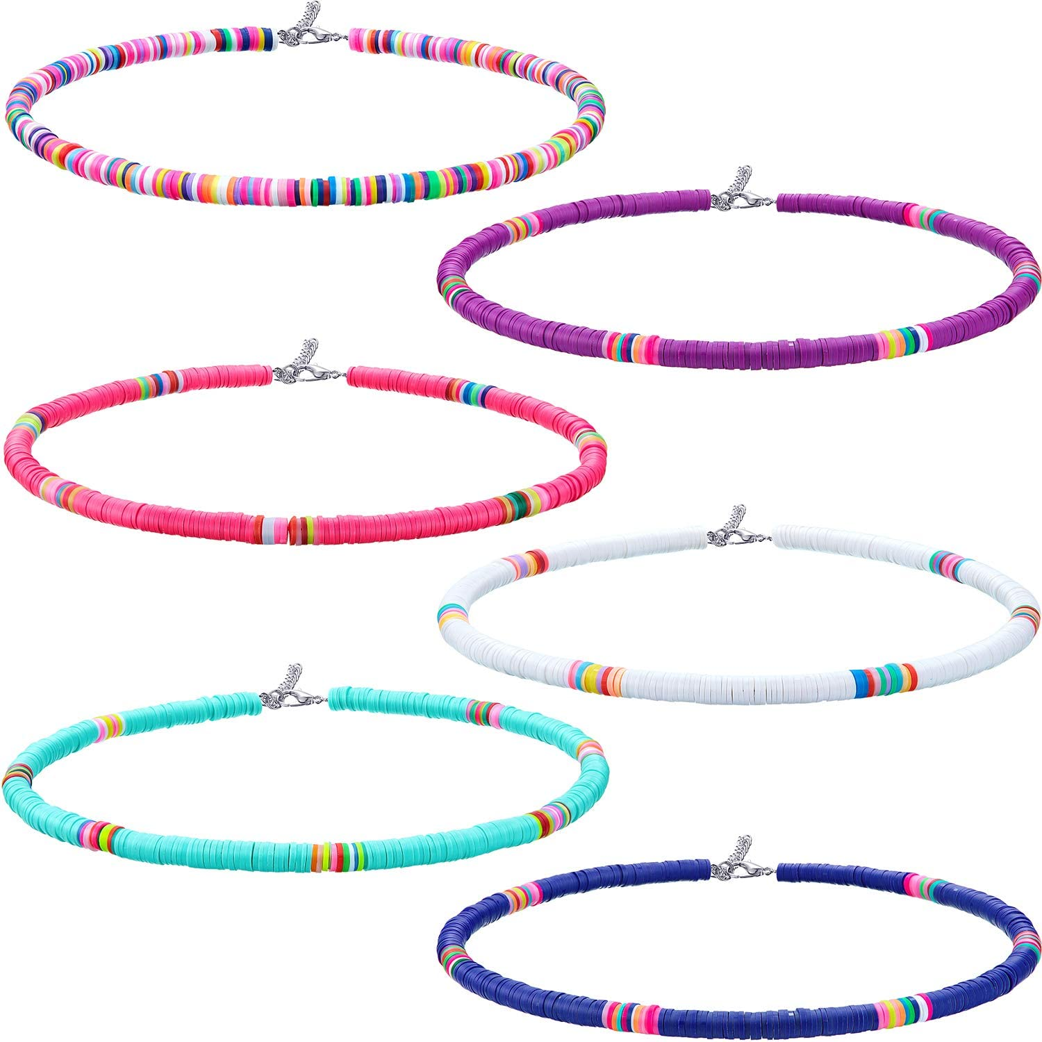 6 Pieces Seed Bead Choker Necklace Bohemian Surfer Boho Beads Choker Necklace Colorful Heishi Vinyl Necklace Chain Beach Jewelry for Women Girls