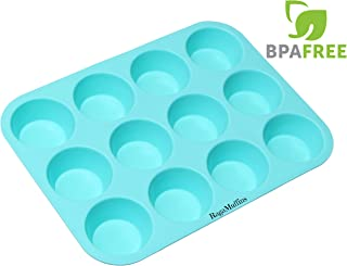 Silicone Baking Pan Cupcakes Muffins Mold 12 Cup 100% Non-Stick BPA Free Food Grade Silicone in Aqua- 1 pan