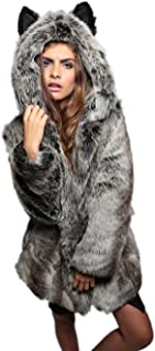 Amore Bridal Women's Cute Cartoon Ear Hooded Soft Plush Winter Faux Fur Coat
