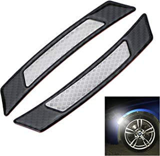 iJDMTOY Pair Universal White Reflective Side Marker Stickers w/Outer Black Carbon Fiber Trim For Car SUV Truck Wheel Well Arch or Side Bumper/Fenders