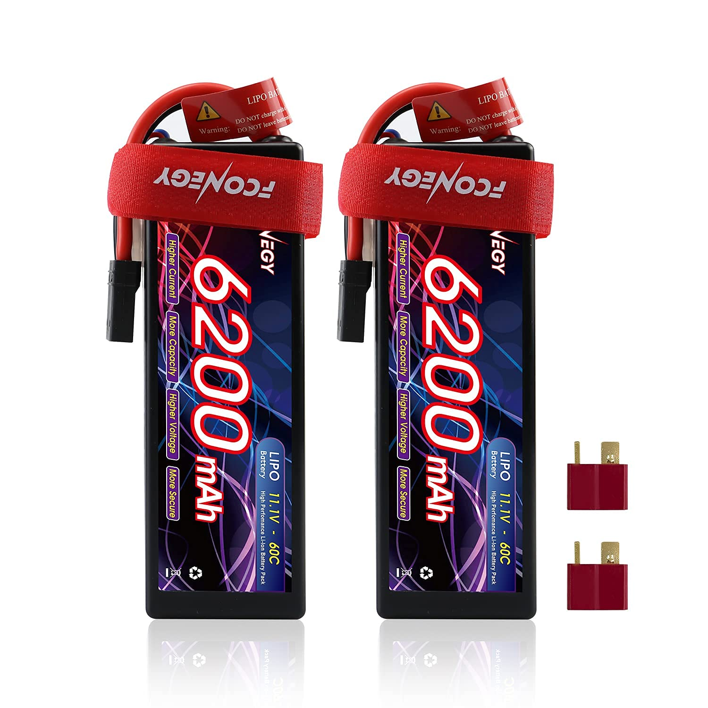 2 Baterias LIPO 11.1V 6200mah 60C 3S T Plug FCONEGY