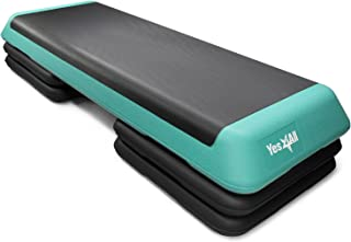 Yes4All Aerobic Exercise Workout Step Platform Health Club Size with 4 Adjustable Risers Included and Extra Risers Options