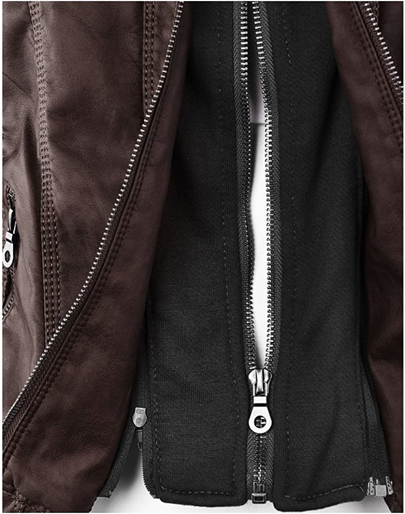 Women Winter Vintage Zip-up Removable Hooded Motocycle Bomber Jackets Faux Leather Biker Jacket Coats Coffee