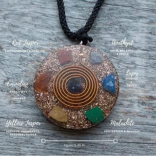 Reversible Orgonite Mixed Chakra Orgone Gemstone Pendant – Revitalization Relaxation Chi energy enhancing Crystal necklace- Tesla Coil - Unisex