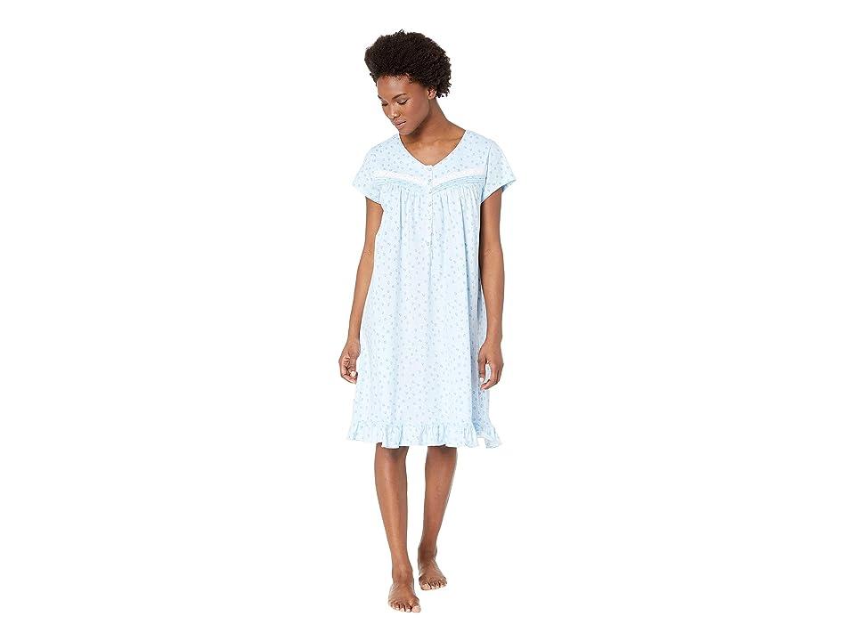 Eileen West Jersey Short Nightgown (Blue/Novelty) Women