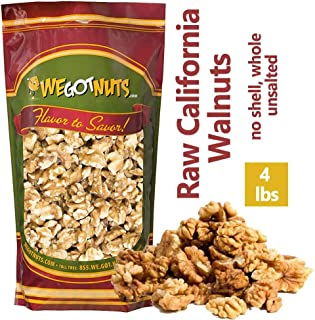 We Got Nuts California Raw Walnuts – 100% All Natural Shelled Halves and Pieces (4lb)
