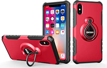 iPhone X Case, iPhone 10 Case, with 360 Degree Rotating Kickstand features with Magnetic Car Mount Built-in Ring Holder Heavy Duty Protection for iPhone X 5.8 inches(Red)