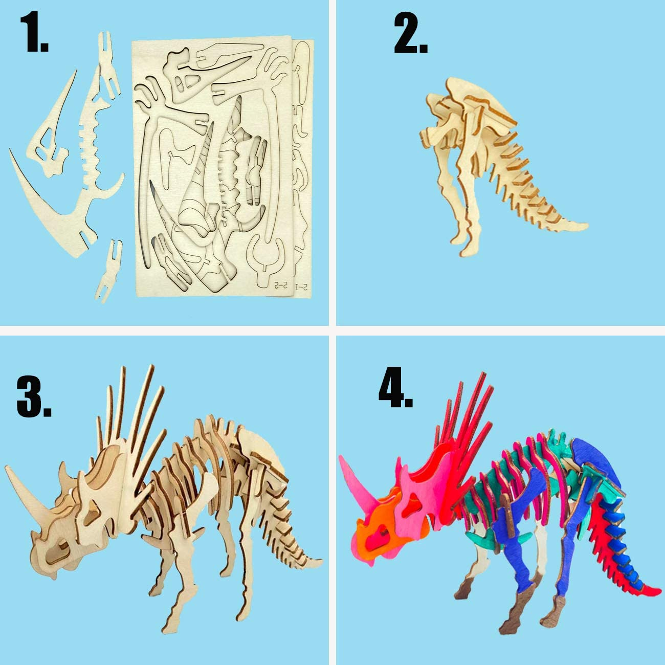 4PCS Safe and Non-Toxic Easy Premium Puzzles Gifts for Girl Boys Teen Adults GOSODME 3D Dinosaur Skeleton Puzzles for Kids,Wooden Hands Craft Painting DIY Model Assembly Educational Toy