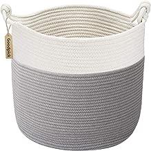 Goodpick Cotton Rope Basket with Handle for Baby Laundry Basket Toy Storage Blanket Storage Nursery Basket Soft Storage Bins-Natural Woven Basket, 15'' × 15'' × 14.2''