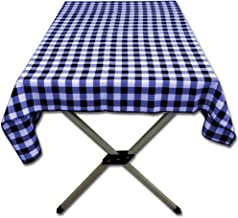 Table in a Bag TC4848NW Square Polyester Poplin Gingham Tablecloth, 48-Inch by 48-Inch, Navy and White Checkered Pattern