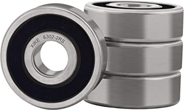 XiKe 4 Pcs 6302-2RS Double Rubber Seal Bearings 15x42x13mm, Pre-Lubricated and Stable Performance and Cost Effective, Deep Groove Ball Bearings.