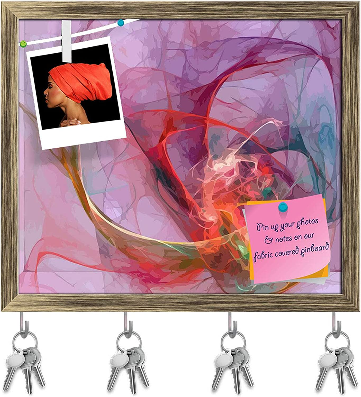 Artzfolio Digital Fractal D4 Key Holder Hooks   Notice Pin Board   Antique golden Frame 18.7 X 16Inch