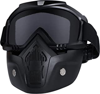 Motorcycle Helmet Riding Goggles Glasses With Removable Face Mask,Detachable Fog-proof Warm Goggles Mouth Filter Adjustabl...