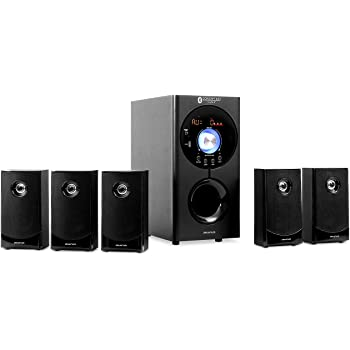 auna Areal Active 620, 5.1 Channel Loudspeaker System, Home Entertainment System, FM/AM Radio Tuner, Connections: USB/SD/AUX/RCA Output + Input, 90 watts RMS, Bluetooth, Black