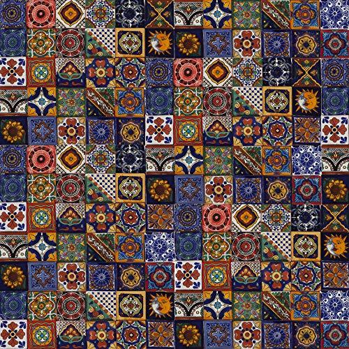 Cerames Salazar – Azulejos decorativos de colores de la pared, mexicano, para cuarto de baño y cocina, 5x5 cm, 120 piezas por paquete.