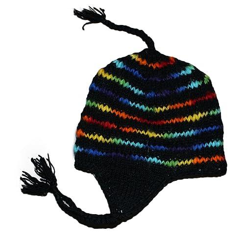 2b19ec984e7262 Sherpa Designs Hand Knit Unisex Wool Beanie Hat Ear Flap Fleece Lined Nepal