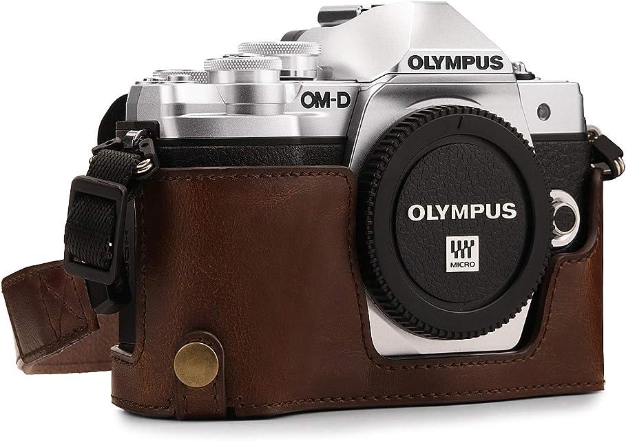 MegaGear MG970 Para Olympus OM-D E-M10 Mark II E-M10 Estuche Ever Ready Media funda estuche de base funda de cuero de pronto uso con correa - Marrón Oscuro