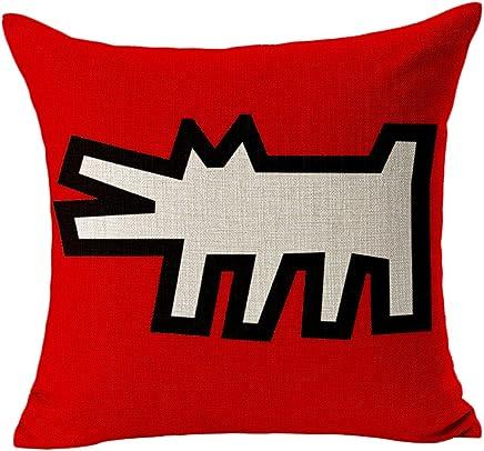 CosyDeal Throw Pillow Cover, Home Decorative Modern Keith Haring Abstract Graffiti Printing Caso Cover Cuscino Quadrato in Cotone e Lino, 45,7x 45,7cm, Cotone, H, Standard