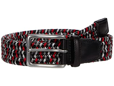 Torino Leather Co. 35 mm Italian Woven Leather Rayon Stretch (Black/Grey/Red) Men