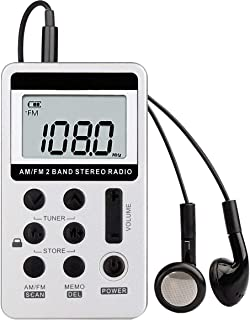SODIAL AM FM Portable Pocket Radio, Mini Digital Tuning Stereo with Rechargeable Battery and Earphone for Walk/Jogging/Gym...