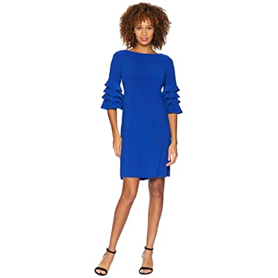 Gabby Skye Ruffle Sleeve Dress (Vivid Royal) Women