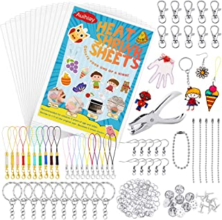 Auihiay 221 Pieces Clear Shrink Plastic Kit Include 20 Shrinky Art Paper, Hole Punch and Keychains Accessories for Kids Creative Craft