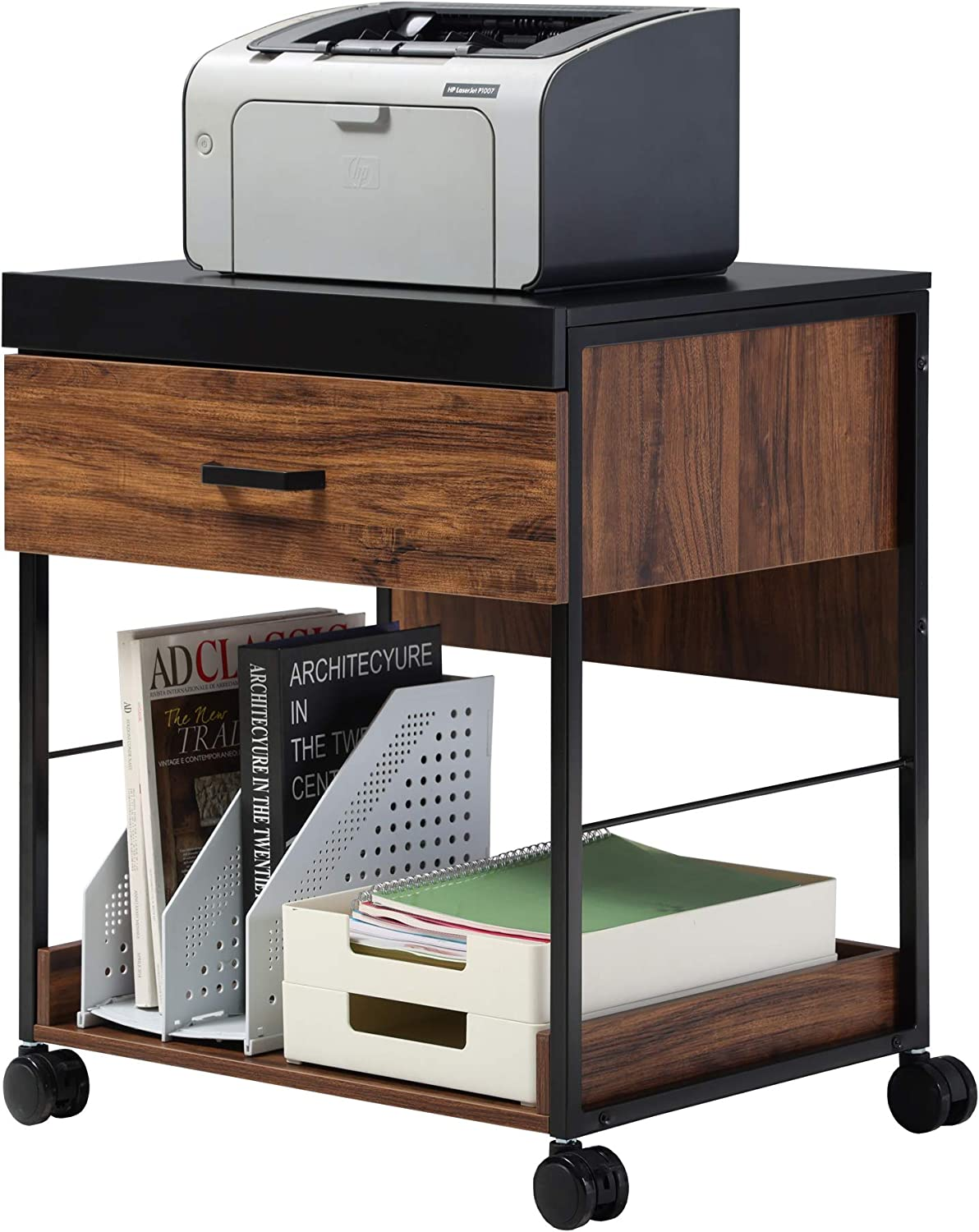 HOMOOI Mobile Tulsa Mall Filing Cabinet New product type Printer Drawe Wheels Stand with on