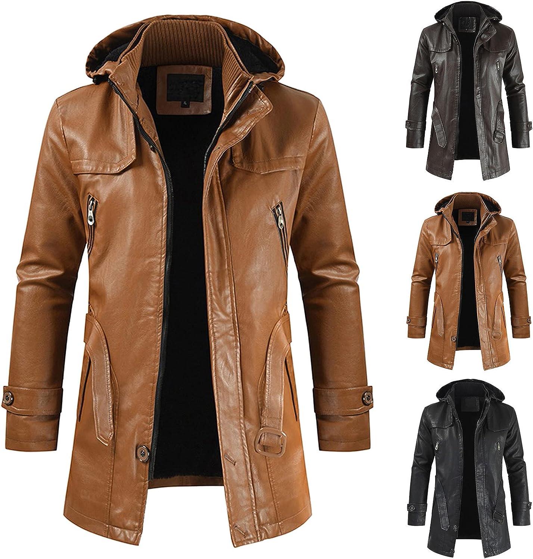 Men's Faux Leather Hooded Jackets Fleece Lined Warm Coat Zipper Up Long Sleeve Windproof Midi Winter Coat with Pockets