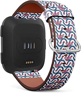 Compatible with Fitbit Versa - Quick-Release Leather Band Bracelet Strap Wristband Replacement - Semicircle Mod British