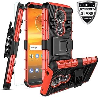 Motorola Moto E5 Plus Case/Moto E5 Supra Case W [Tempered Glass Screen Protector] [Built-in Kickstand] Full Body Shockproof PC Back Cover Soft TPU Inner Armor Swivel Combo Holster Belt Clip,Red