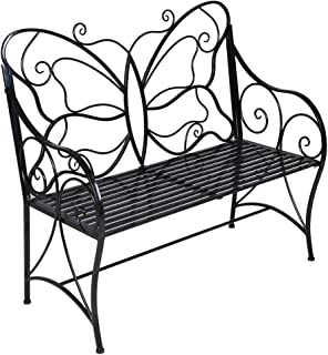 metal butterfly garden bench