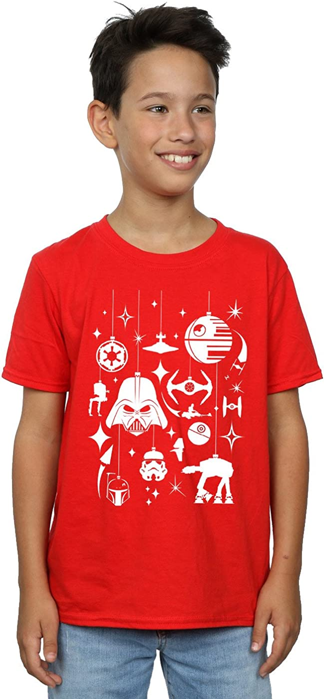 STAR WARS Boys Christmas Decorations T-Shirt 9-11 Years Red