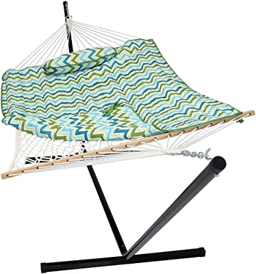 Sunnydaze Cotton Rope Freestanding Hammock with 12 Foot Portable Steel Stand and Spreader Bar, Pad and Pillow Included, Blue & Green Chevron