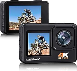 【2021最新版】 Campark アクションカメラ 4K/30FPS 24MP 2400万画素 高画質デュアルカラースクリーン 4倍デジタルズーム 前後カメラ 水中カメラ 外部マイク対応 WiFi搭載 EIS2.0手ぶれ補正 SONYセンサー...
