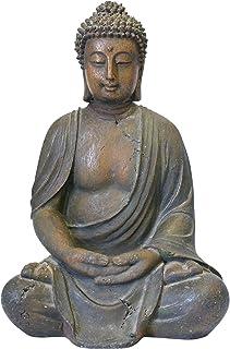 Alpine Corporation Meditating Buddha Statue - Outdoor Decor for Garden, Patio, Deck, Porch - Yard Art Decoration