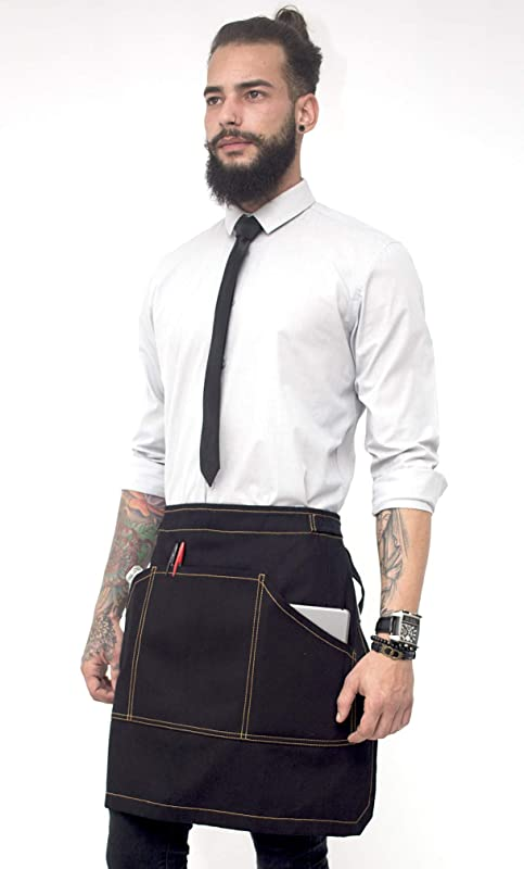Under NY Sky Half Deep Black Apron With Durable Twill Bistro Apron Waist Apron Adjustable For Men And Women Professional Barista Bartender Mixologist Florist Server Aprons