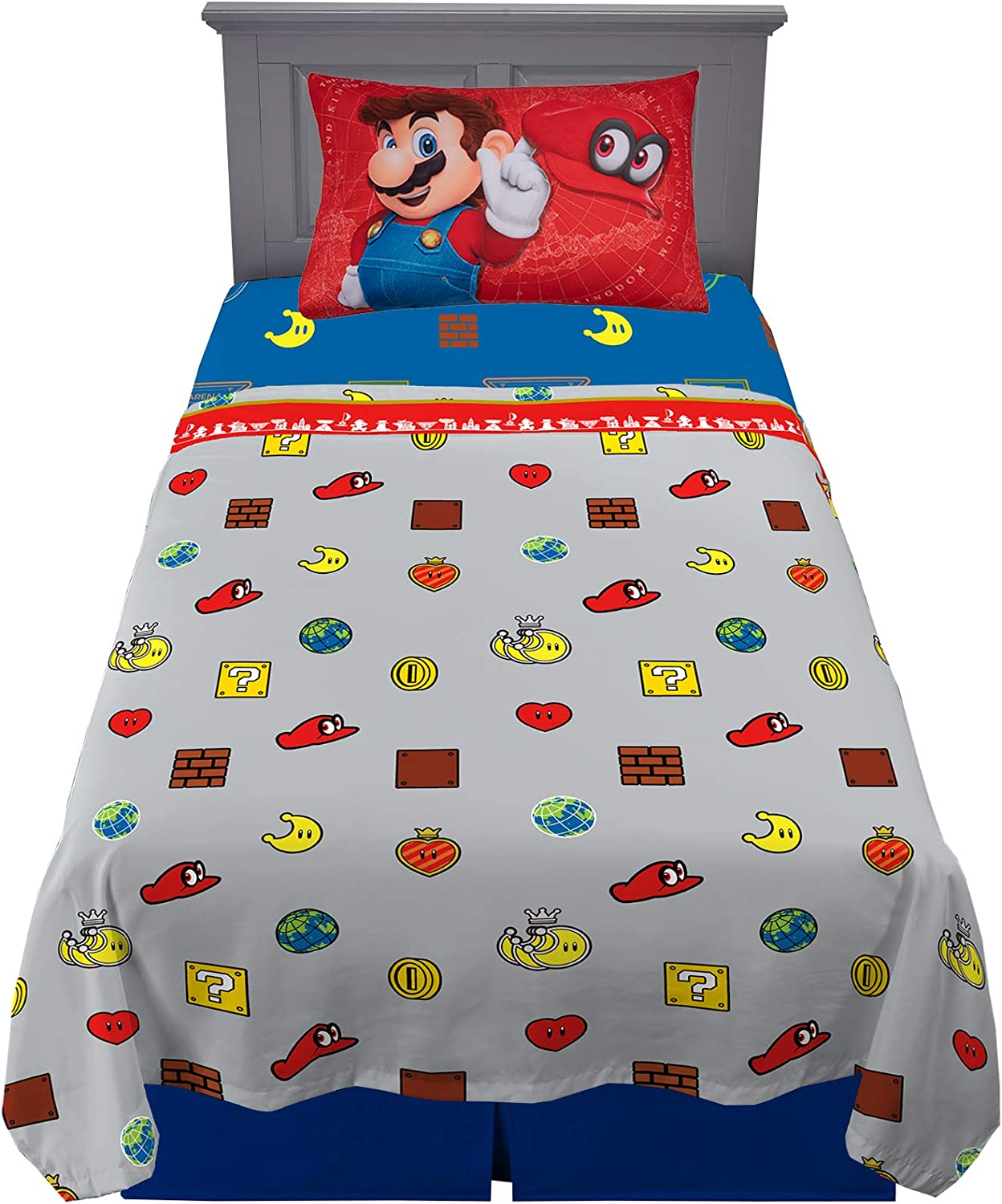 Super Mario Odyssey 3 Piece Twin Size Soft Bed Sheet for Kids