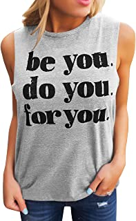 50ed7618ab8ae6 Umeko Womens Tank Tops Graphic Tees Funny Crew Neck Sleeveless Workout T  Shirts with Sayings