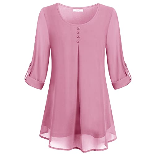 69e7b98bd35 Cestyle Women s Roll-up Long Sleeve Round Neck Layered Chiffon Flowy Blouse  Top