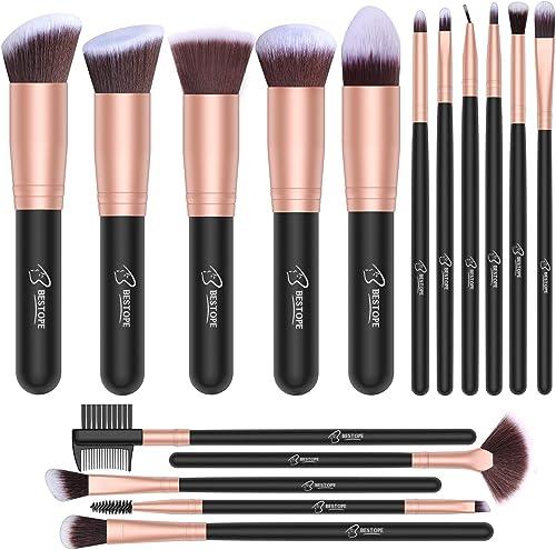 Set de brochas de maquillaje profesional BESTOPE 16 piezas Pinceles de maquillaje Set Premium Synthetic Foundation Br...