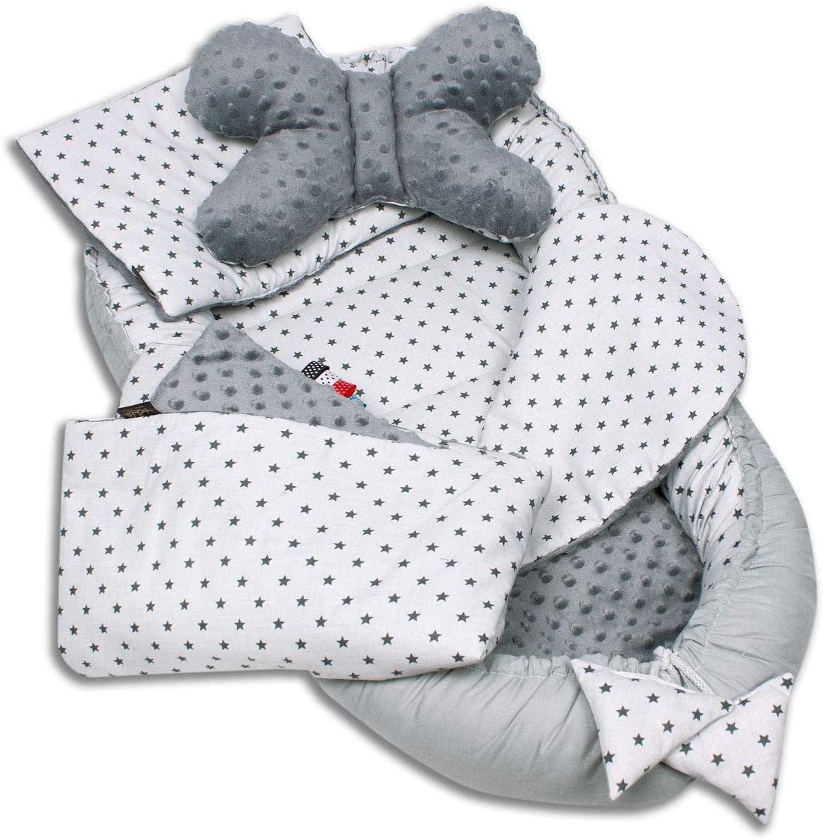 Palulli Babynestchen, 5-teiliges Set, hohe Qualität, 90x50cm, mit Kuscheldecke, Kissen und herausnehmbarer Einlage, Baumwolle,…